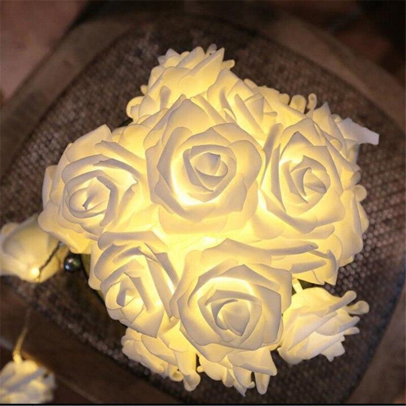 10M 50LED Fashion Christmas Holiday Lighting Novelty Rose Flower Fairy String Lights Wedding Garden Party Valentine's Day Decor