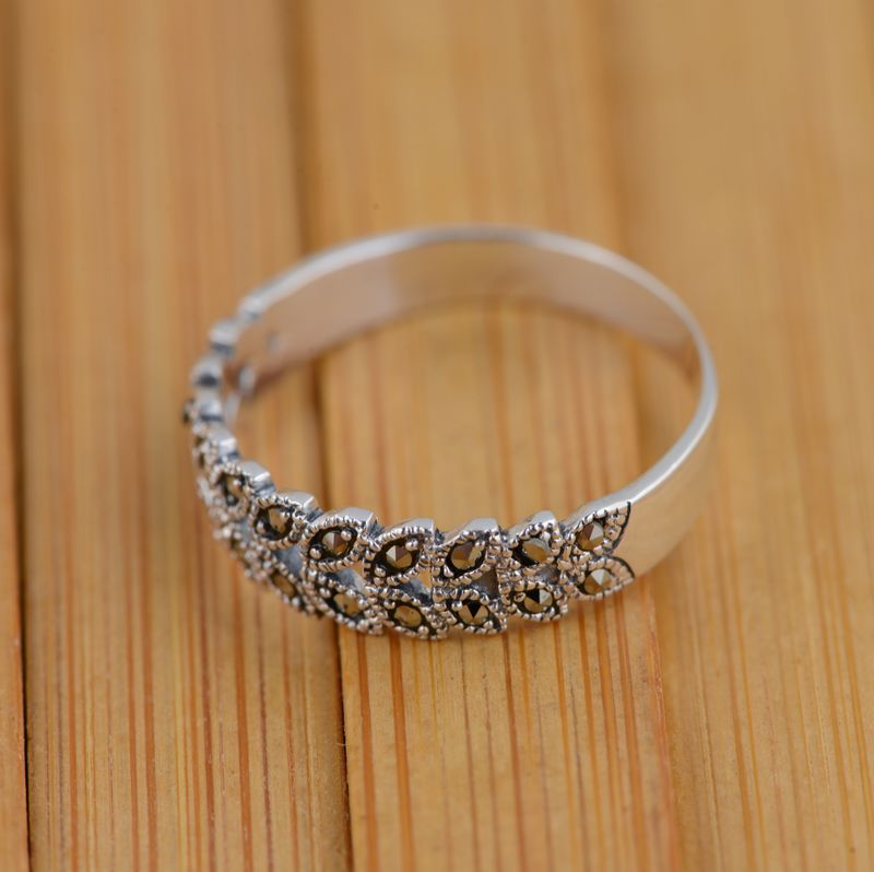 Marcasite silver inlaid silver ear ring S925 wholesale antique style female explosion models
