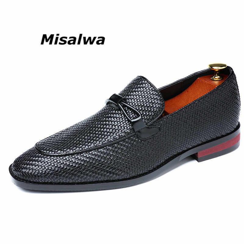 Misalwa男性のプレミアム革ドレス男性プラスサイズ 38-48 2020 レトロ快適除草靴フラットモカシン