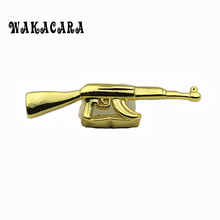 WAKACARA Hip Hop Ak-47 Grillz Top Grill Double Cap Teeth Gold Color Tooth Gun Ak47 Shape Removeable Grills Top Teeth