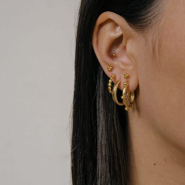 2018 minimal delicate danity stud earring three dots simple no stone midi 3mm stud multi pierced girl dainty earrings 925 silver earrings