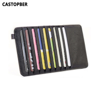 Super Thin Quality Cowhide 100 Genuine Leather 18 Card Slots Business Card Holders Long Wallet Credit