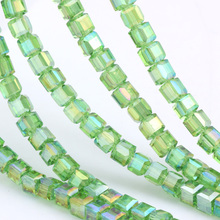 OlingArt Square 3/4/6/8MM Austria Crystal Beads charm Glass Bead Green plating AB color Loose Spacer for DIY Jewelry Making