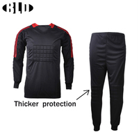 BLD Football Goalkeeper Soccer Uniforms Set Breathable Dry Fit Jersey And Pants With Sponge Mats Protection