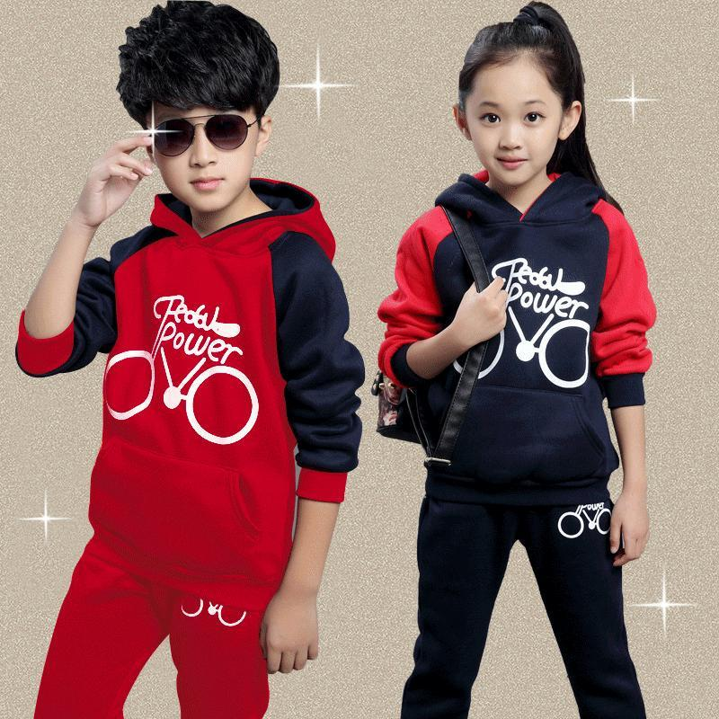 2017 New Boys Girls Clothing Set Autumn Spring Cotton Children Suits Long Sleeved Casual Sprot Suits for Kids Boys Girls