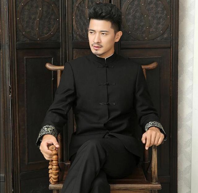 אחת חזה slim fit גברים בליזר בסגנון חליפת טוניקה הסיני עיצוב חדש חליפות אופנה גבר 1 זכר מעיל טרייל פורמליות שמלת