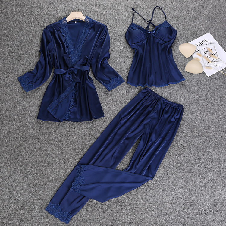 Spring Autumn Women Sexy Silk Satin Sleepwear   Set   Lace   Pajama     Set   3 Pieces Robe+Slip Top+Pant Fashion Nightwear Homewear