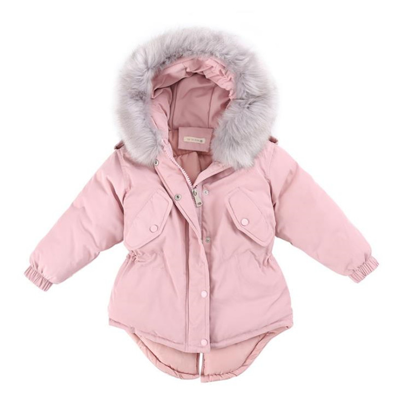 DFXD Toddler Girls Cotton Padded Coats 2017 Winter Children Long Soild Zipper Parka Warm Outwear Princess Party Coats 3-12Years