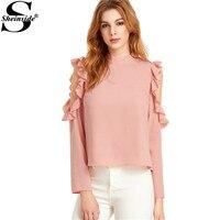 Sheinside Women Full Sleeve Shirts Blouses Cold Shoulder Tops Pink Open Shoulder V Cut Out Back