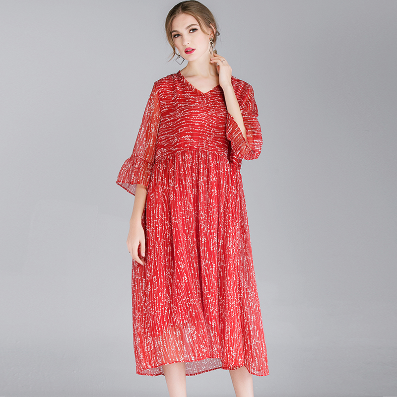 Women Chiffon Dress Spring Red Plus Size 2019 Flower Print Flare Sleeve Loose Casual Oversized Dresses Woman Lady Femme Dresses in Dresses from Women 39 s Clothing