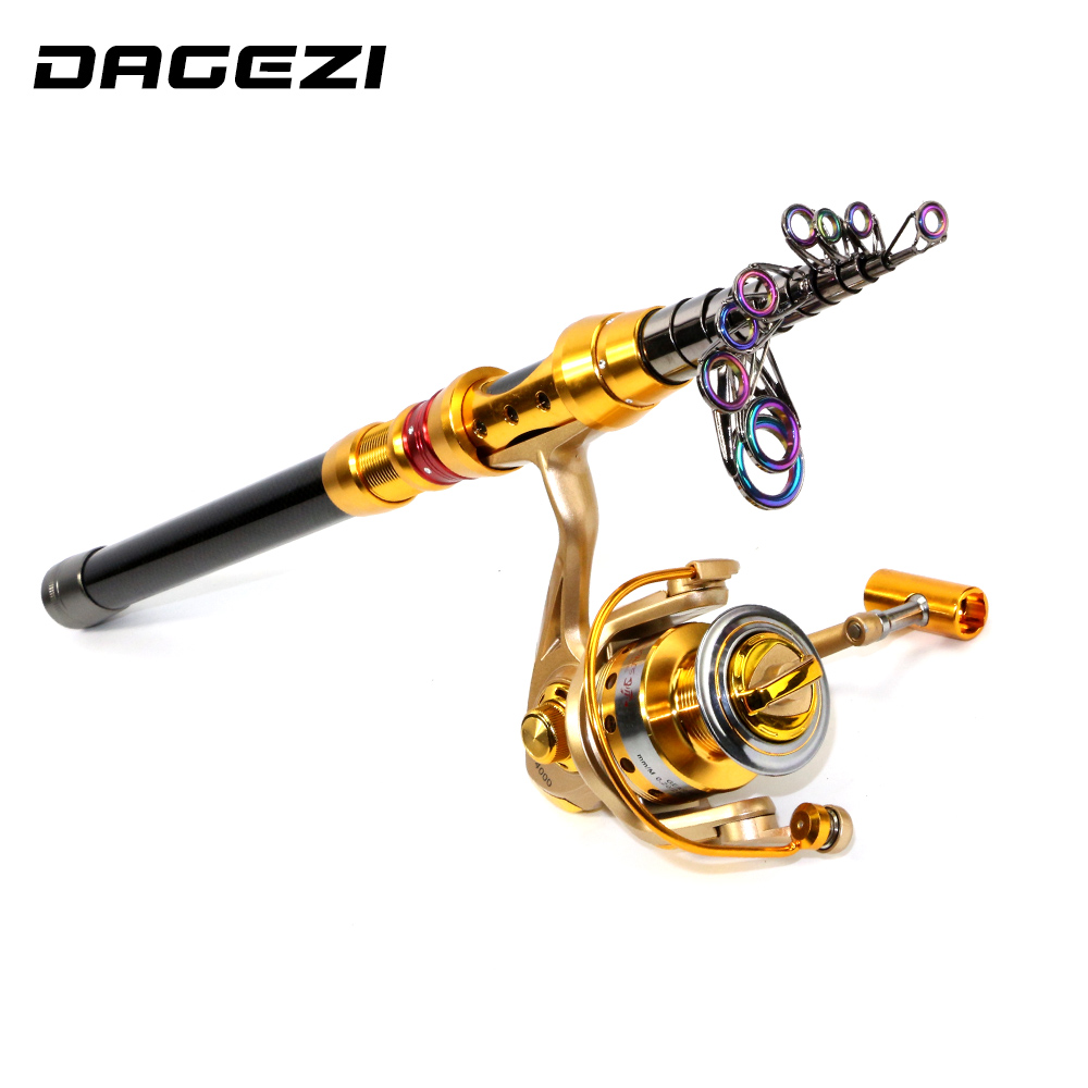 DAGEZI Portable Telescopic Fishing Rod + fishing reel Spinning Fishing wheel Sea Rod 1.8-3.6M rod+reel fishing tackle