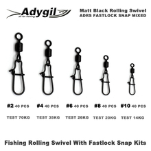 Adygil Matt Black Fishing Rolling Swivel With Fastlock Snap Kits ADRS FASTLOCK SNAP MIXED #2 #4 #6 #8 #10 200pcs/lot сушка wiederkraft wdk 3c