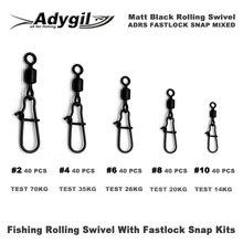 Adygil Matt Black Fishing Rolling Swivel With Fastlock Snap Kits ADRS FASTLOCK SNAP MIXED #2 #4 #6 #8 #10 200pcs/lot