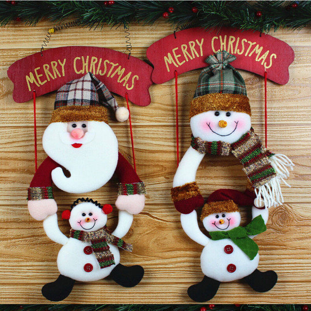 2018 christmas snowman pendant door decorations santa claus hanging ornament party festival christmas home decorations