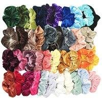 40 шт Цвета Бархат Scrunchie для женщин девочек эластичные волосы резиновые ленты аксессуары резинка для женщин резинка для волос конский хвост ...
