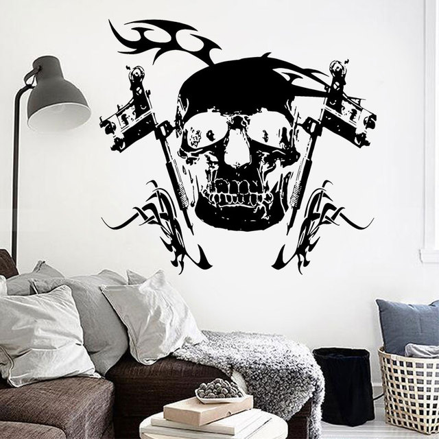 Skeleton Wall Decor Vinyl Sticker Mural Poster Tattoo Parlor Gun ...