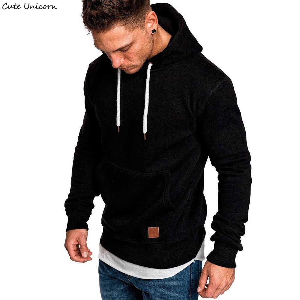 2018 Mens Long Sleeve Hoodies Solid Color Pullover Hooded Sweatshirt Male Sportswear hoodies and sweatshirts Hoody Tracksuit