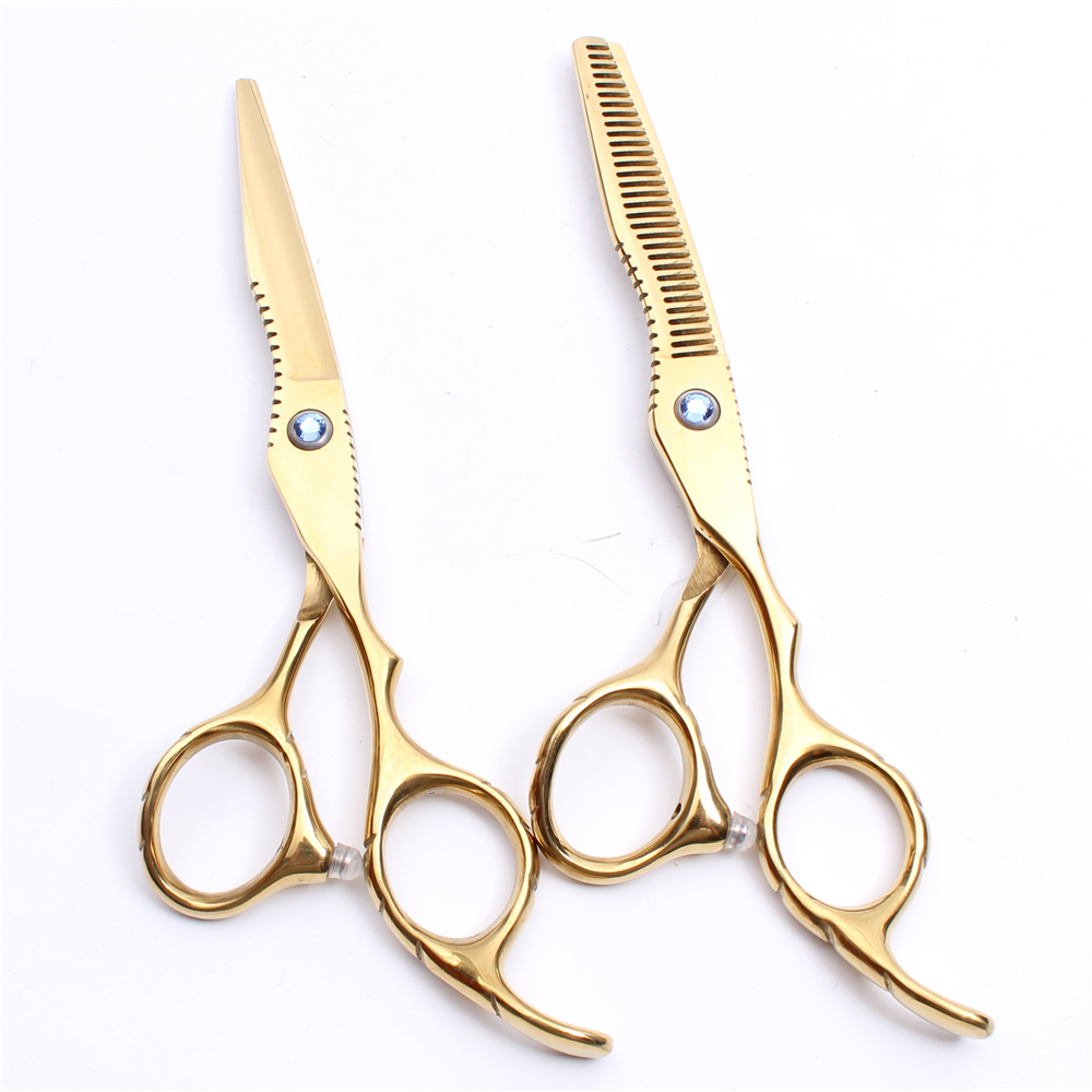 6Inch 17.5cm Customized Logo JP 440C Gold Hairdressing Scissors Normal Scissors Thinning Shears Professional Hair Scissors C1011
