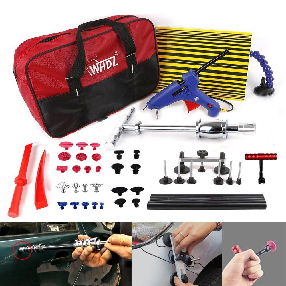 WHDZ PDR Tools Kit, Car Dent Repair Tools Slide Hammer Pdr Board Dent Puller Glue Gun Glue Tabs with bag
