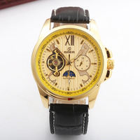 Relogio Masculino GOER Mens Watches Top Brand Luxury Leather Strap Waterproof Automatic Mechanical Watch Men Winner
