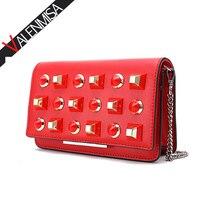Colorful Rivet Genuine Leather Messenger Bag Luxury Handbags Women Bags Designer Women Crossbody Bag Diamonds Chain