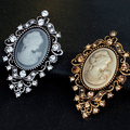 Vintage Rhinestone Bouquet Women Beauty Head Cameo Brooch Pins Jewelry Gift
