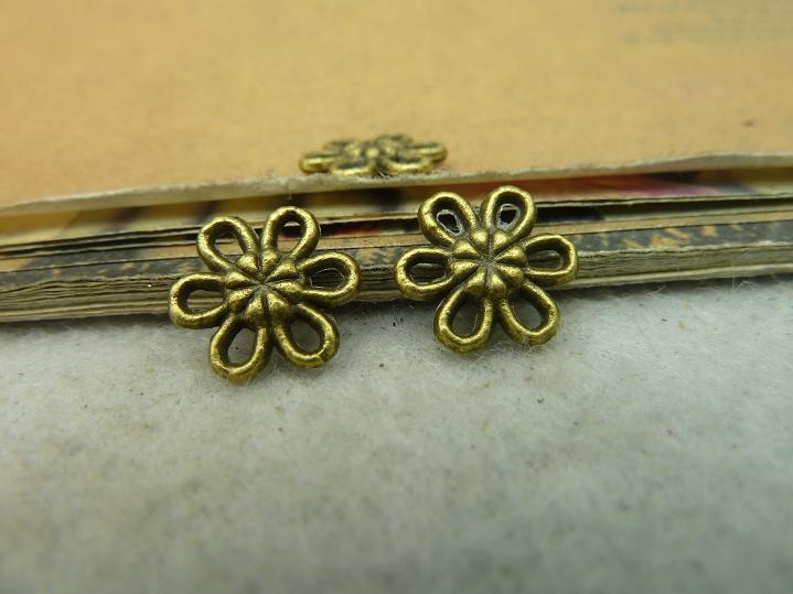 50pcs 11mm Antique Bronze Lovely Mini Flower Spacer Bead c4024