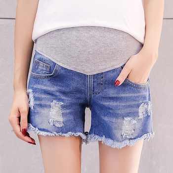 2019 Summer Fashion Denim Maternity Shorts Elastic Waist Belly Short Jeans Clothes for Pregnant Women Hot Ripped Hole Pregnancy 2018 summer ripped hole pockets maternity overalls loose adjustable bib pants clothes for pregnant women pregnancy jeans jumpsui