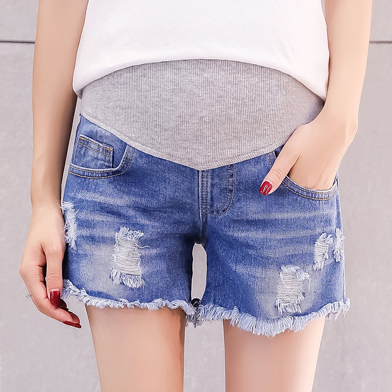 2019 Summer Fashion Denim Maternity   Shorts   Elastic Waist Belly   Short   Jeans Clothes for Pregnant Women Hot Ripped Hole Pregnancy