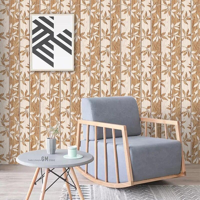 Nouveau 5D Bois grain gaufrage sticker mural PVC amovible étanche DIY autocollant TV toile de fond peinture décorative papier peint créatif