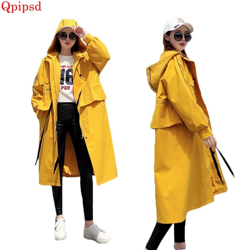 Jaune Occasionnel De À Automne Blousons 2018 Tranchée Femelle Manteau Capuchon Lâche Nouvelle Long Printemps Femmes Yellow Zipper q04pHzw