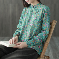 Autumn New National Style Retro Long sleeve Literary T shirt Female Bottoming Shirt Chinese Wind Plate Buckle Loose Top