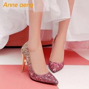 Image 5 - 2019 Yeni Yüksek topuklu ince ayakkabı kadın pompaları bling düğün gelin ayakkabıları klasik 1cm 5.5cm veya 8.5cm sivri ayak akşam parti ayakkabıları