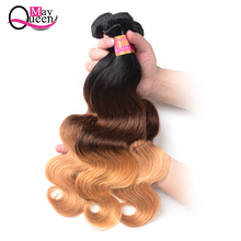 hot deal buy may queen ombre hair bundles brazilian body wave t1b/4/27 color non remy hair weave 100% human hair 3/4 bundles deal