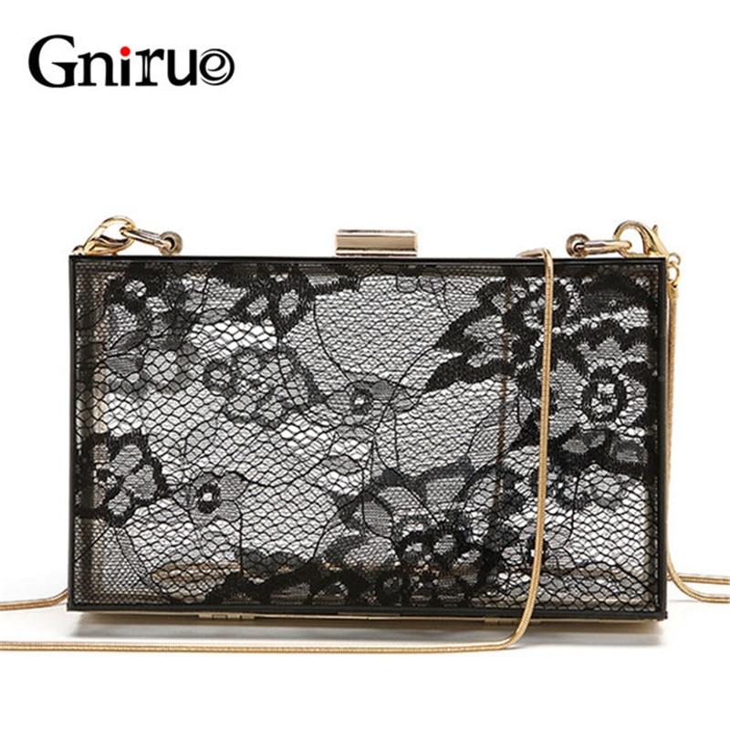 Female Delicate Lace Acrylic Clutch Bags Women Chain Shoulder Crossbody Bag Fashion Transparent Evening Bag Handbags Pruses