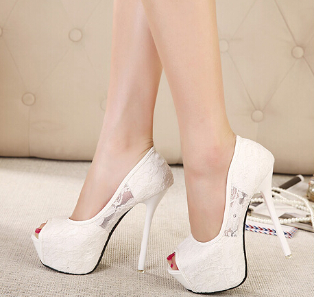 цена на Women Pumps Fashion Lace Peep Toe High Heels Ladies Wedding Shoes Platform White Party Shoes Female Sapatos Femininos