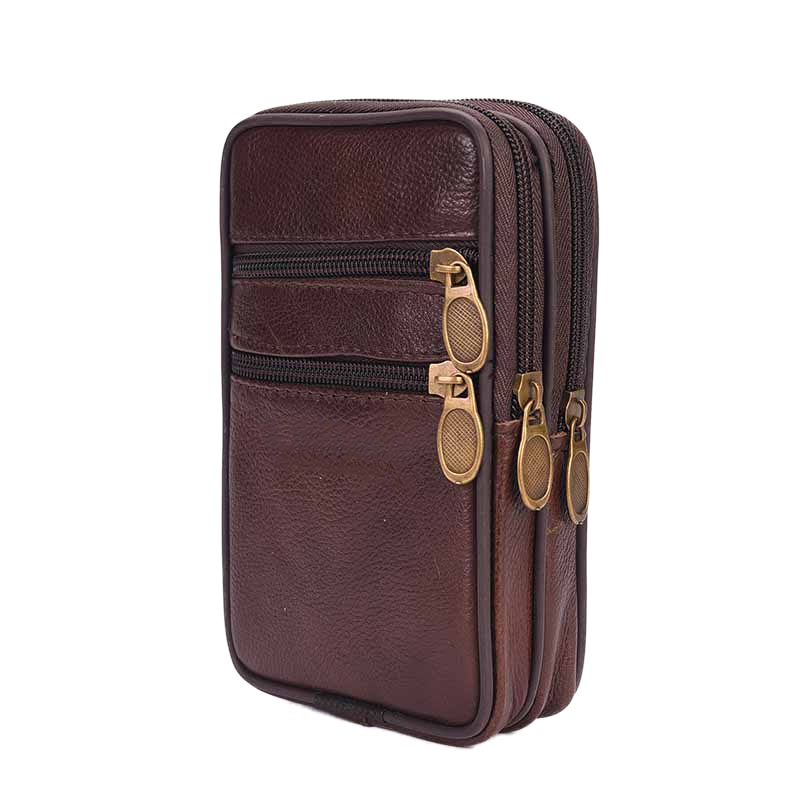 Outdoor Running Bags Men Genuine Leather Waist Pack Bag Double Zipper Cell Mobile Phone Case Coin Purse Pocket Pouch Male Fanny