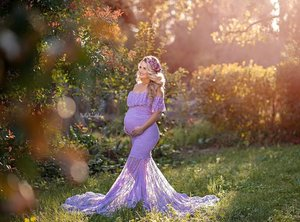 Image 3 - Lace Fancy Women Dress Maternity Photography Props Off Shoulder Pregnancy Dresses Ruffles Maternity Gown Clothes For Photo Shoot