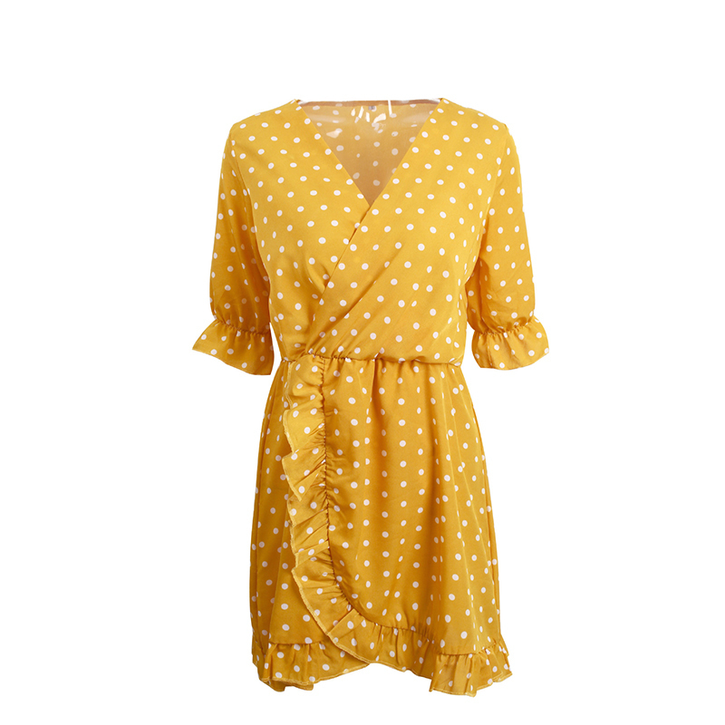 f3588a9e18 Isiksus 2018 Sexy Polka dot Ruffle Wrap Summer Women Dress Bodycon Party  Sundress Brick Beach Tunic Dresses for Girls DR053-in Dresses from Women's  Clothing ...