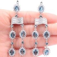 New Designed Long London Blue Topaz White CZ Woman's Gift Silver Earrings 69x18mm
