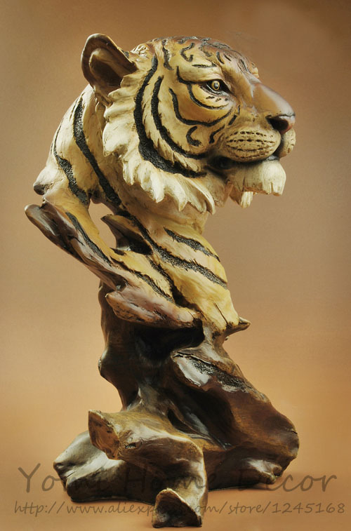 11\high Large Resin Imitate Wood Carving Big Cat Tiger Head Bust Rhaliexpress: Sculptures Home Decor Big At Home Improvement Advice