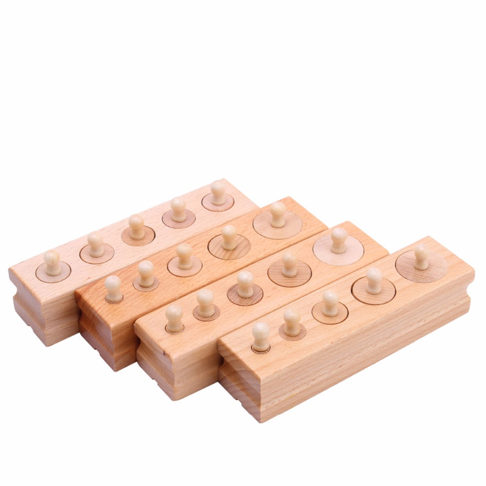 4pcs/Set Montessori Educational Wooden Toys For Children Cylinder Socket Blocks Toy Baby Development Practice and Senses baby educational wooden toys for children building blocks wood 3 4 5 6 years kids montessori twenty six english letters animal