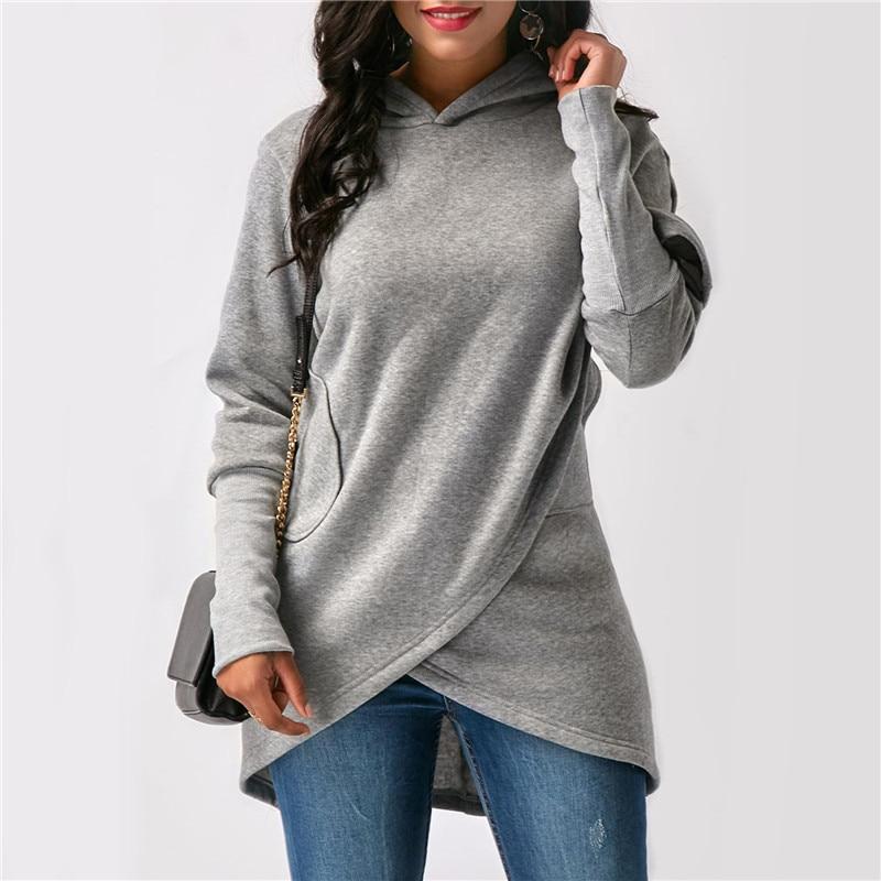 Solid Women Casual Loose Asymmetric Sweatshirt Pullovers Bluza Hoodies 2018 Autumn Hooded Hoodies Sweatshirts Muje Long Sleeve