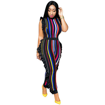 Adogirl side ruffles sleeveless striped women jumpsuits sensual cinch side ruffles OL suits multi color stripe zip-up bodysuit lace up side sleeveless bodysuit