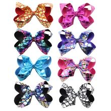 6-inch printed mermaid scales handmade hair accessories children girl princess colorful bow clips