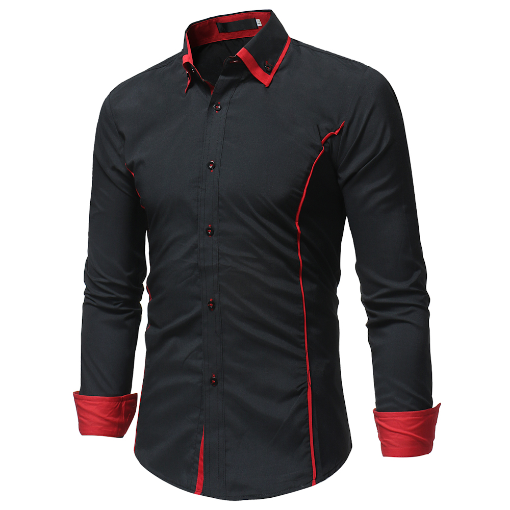 2019 Fashion Brand Camisa Masculina Long Sleeve Shirt Men Korean Slim Double Collar Design Casual Dress Shirt Plus Size Black