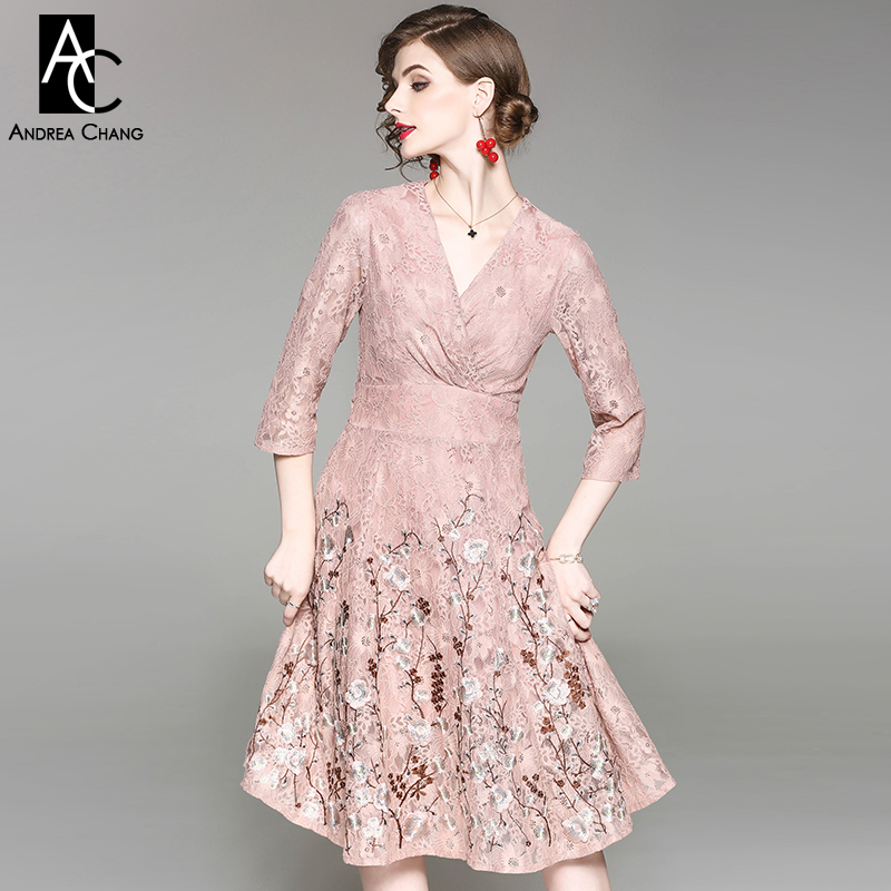 autumn spring woman dress 3d floral pattern embroidery bottom pink beige lace dress over knee high quality XXL long cotton dress