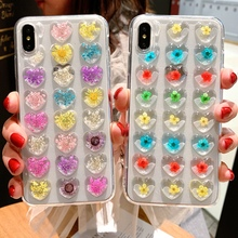 Tfshining Cute Love Heart Real Dried Flowers Phone Case For iphone X XS XR Max 7 8 6 6s Plus Floral TPU Soft Back Cover