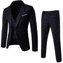 Men's 3-Pieces High-Quality Suit Elegant Solid One Button Slim Fit Single Breasted Party Blazer Vest Pants Set 2019