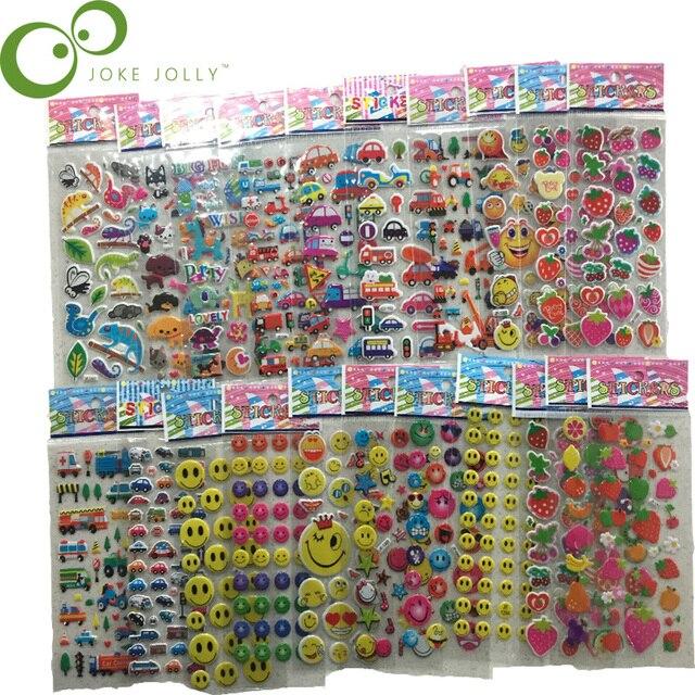 $ US $3.01 25 Sheets 3D Cartoon Stickers Waterproof Bubble PVC DIY Sticker Princess Car Girls Boys Kids Children Gifts GYH